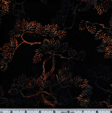 Hoffman Bali Batik HIJ 7001 Black Orange Branches By The Yard
