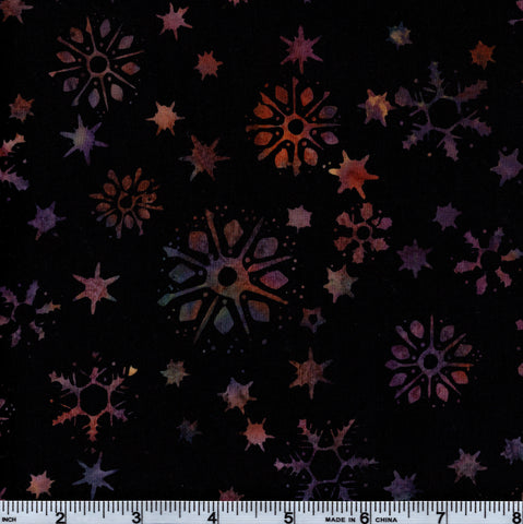 Hoffman Bali Batik HIJ 7006 Black Rainbow Snowflakes By The Yard