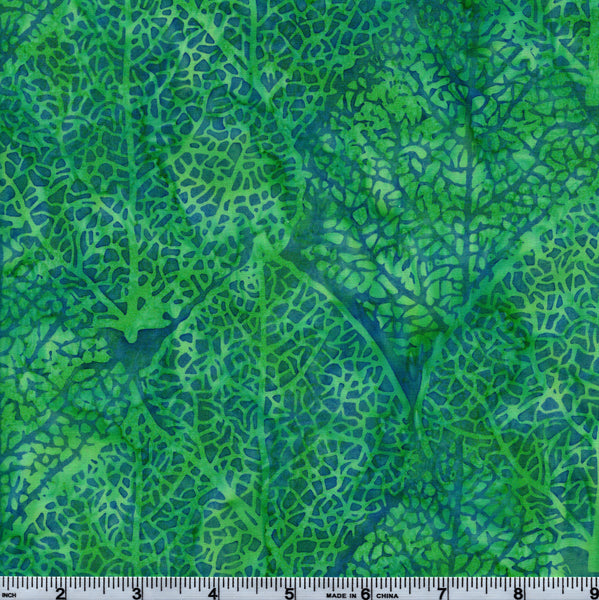 Hoffman Bali Batik HOF 7008 Aqua Large Leaf By The Yard