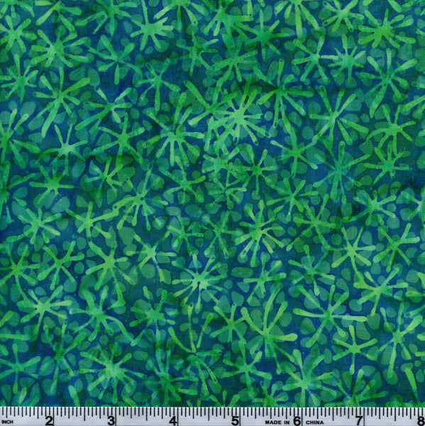 Hoffman Bali Batik HOF 7009 Aqua Jacks Leaves By The Yard
