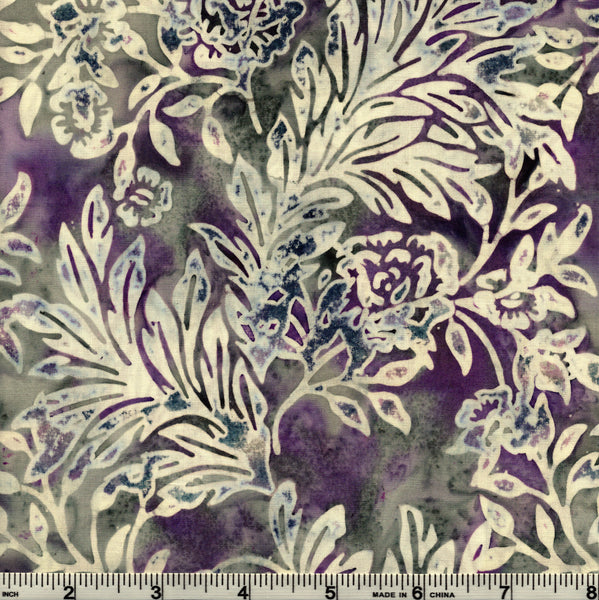Hoffman Bali Batik HOF 7020 Purple Flowers & Leaves The Yard
