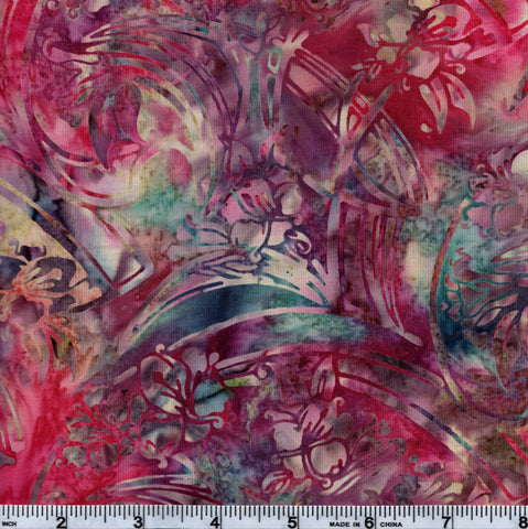Hoffman Bali Batik HOF 7025 Pink Sweeping Floral By The Yard