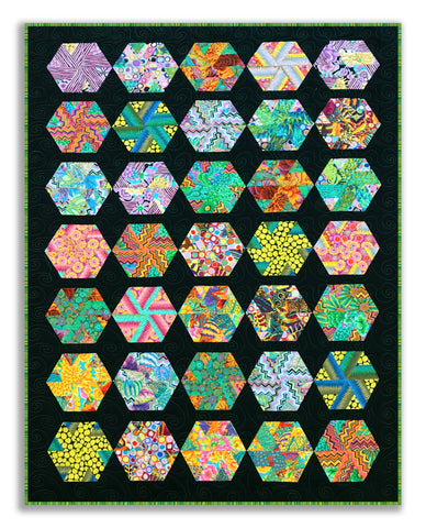 Hexagon Pinwheels VIDEO BUNDLE Quilt Kit - Includes Kaffe Fassett Pre-cut Jelly Roll