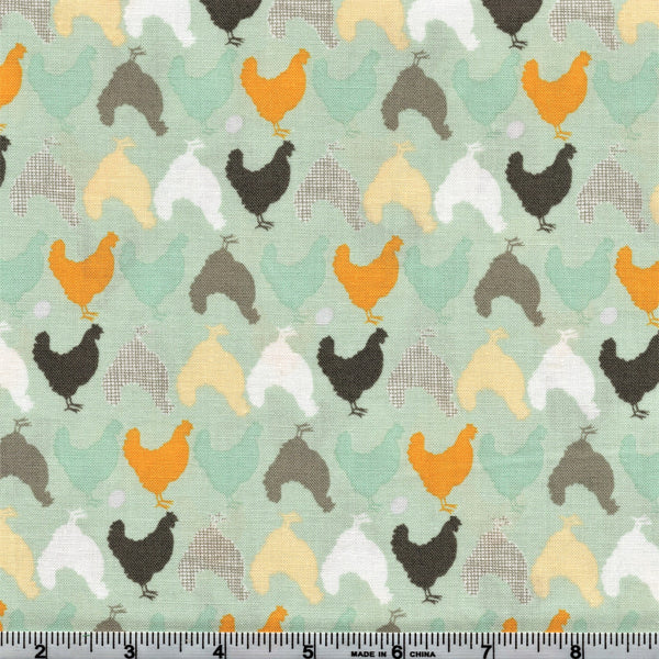 Poppie Cotton Prairie Sisters - Hunt And Peck Mint By The Yard