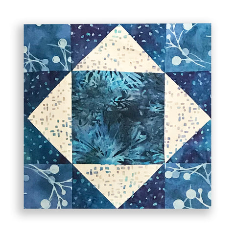 Hoffman Bali Batiks Pre-Cut 12 Block King's Crown Quilt Kit - Iris