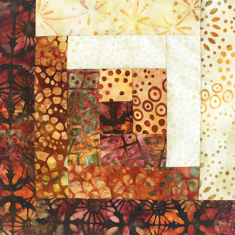 Kaufman Batiks Pre-cut 12 Block Log Cabin Quilt Kit - Island Sun