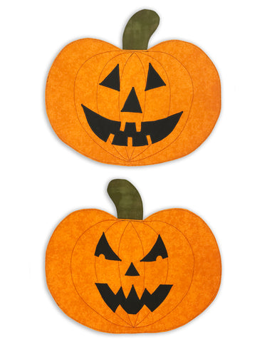 Halloween PRE-CUT Shaped Pumpkin Placemat Kit - Makes 2 - Jack O' Lanterns