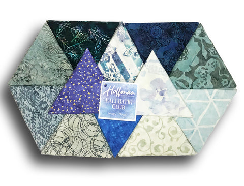 Hoffman Bali Batik Club Pre-Cut 12 Piece Fat Quarter Bundle FQAUTO 586- January - Frost