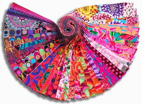 "Free Spirit Kaffe Fassett Pre-Cut 40 Piece 2 1/2"" Strip Jelly Rolls - August 2020 Hot"