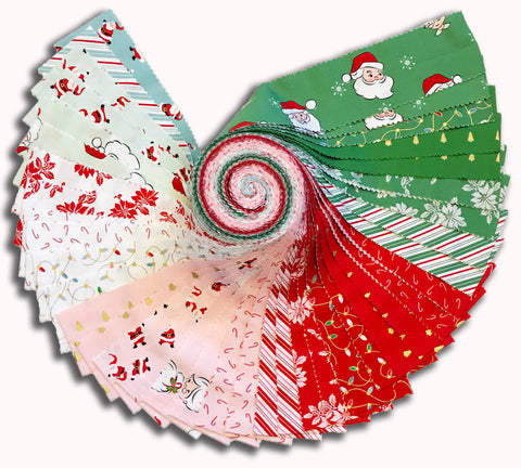 "Riley Blake Pre-Cut 40 Piece 2 1/2"" Strips Rolie Polie - Santa Claus Lane"