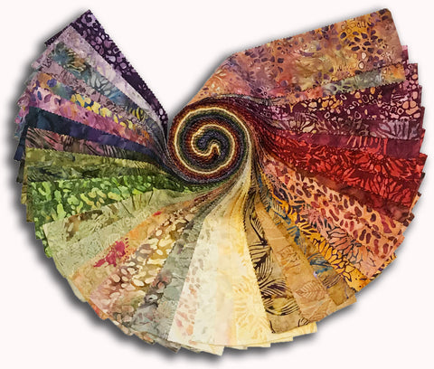 "Kaufman Artisan Batiks Pre-Cut 40 Piece 2 1/2"" Strips Roll Up 893 40 - Inspired By Nature"