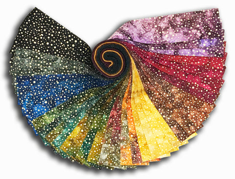 "Kaufman Metallic Artisan Batiks 40 Piece Pre-Cut 2 1/2"" Strips Roll Up 918 40 - Sparkle Gold"