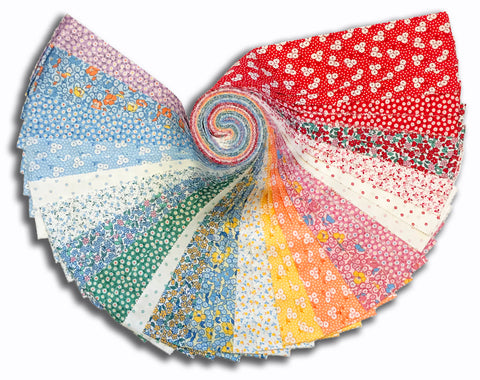 "Kaufman 40 Piece Pre-Cut 2 1/2"" Strips Jelly Roll 885 40- Teapot Garden Multi Colorstory"