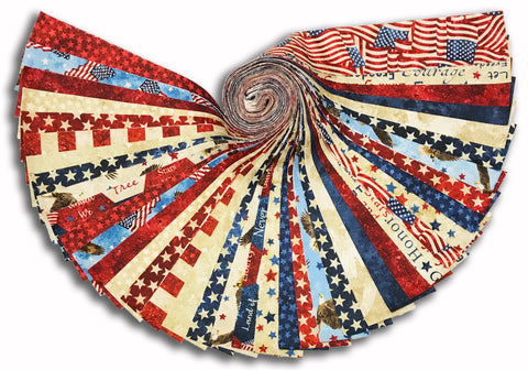 "Northcott Stars & Stripes Pre-Cut 2 1/2"" Strip Set 40 Piece Jelly Roll - Freedom Star"