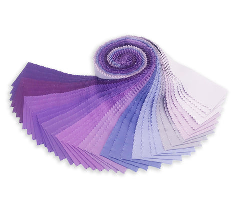 Robert Kaufman Kona Cotton Pre-Cuts 40 Piece Roll Up - Lavender Fields Palette