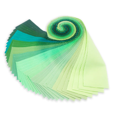 Robert Kaufman Kona Cotton Pre-Cuts 40 Piece Roll Up - Spring Meadow Palette
