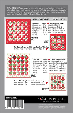 JOY AND DELIGHT - Robin Pickens Quilt Pattern