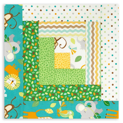Northocott Baby Animal Pre-Cut 12 Block Log Cabin Quilt Kit - Jungle Friends