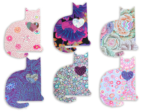 Matt's Hand Cuts VIDEO BUNDLE Kaffe Fassett Pre-Cut Cat Applique Quilt Kit - Kaffe Kats Purple 3
