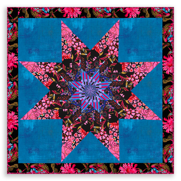 Free Spirit Kaffe Fassett Lone Star Pre-cut Jelly Roll Quilt Kit - Midnight Blooms