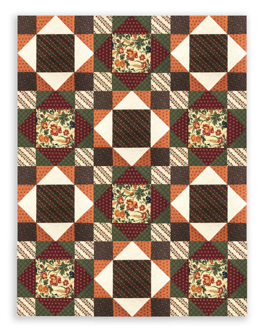 Moda Civil War Kansas Troubles Pre-Cut 12 Block King's Crown Quilt Kit - Harvest Hill