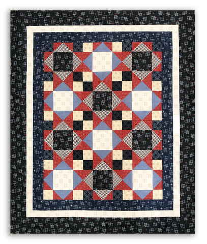 Robert Kaufman Sevenberry Pre-Cut 12 Block King's Crown Quilt Kit - Kasuri
