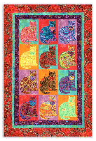 Cat VIDEO BUNDLE Pre-Cut Applique Quilt Kit - Kaffe Kats