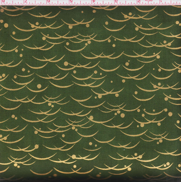 Hoffman St. Patric Metallic Celebrate 4176 Moss Waves and Dots by the yard