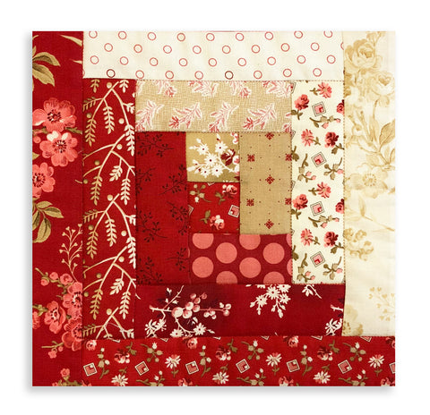 Andover By Laundry Basket Quilt Pre-Cut 12 Block Log Cabin Quilt Kit - Little Sweetheart
