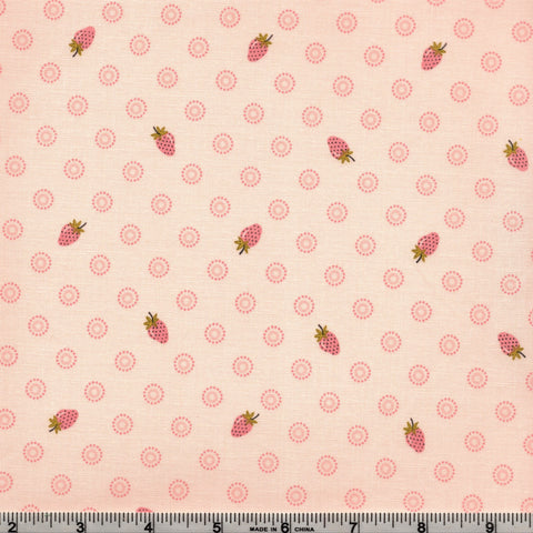 Poppie Cotton Prairie Sisters - Liza's Strawberries Pink By The Yard