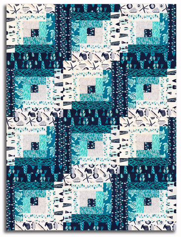 Andover Pre-Cut 12 Block Log Cabin Quilt Kit - By The Sea