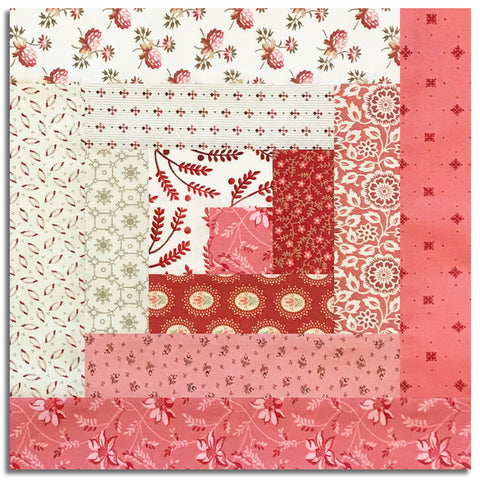 Andover Laundry Basket Pre-Cut 12 Block Log Cabin Quilt Kit - Secret Stash Blush