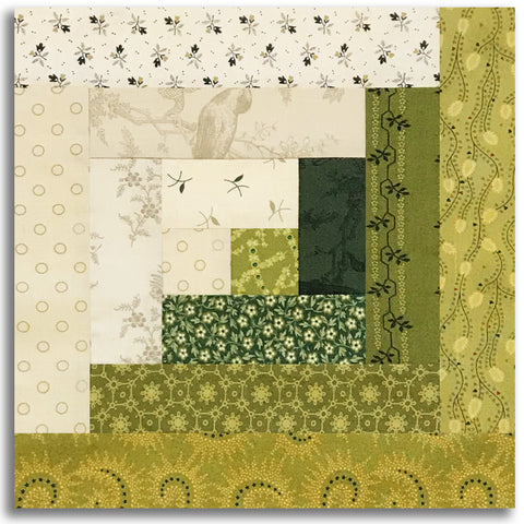 Henry Glass & Co. PRE-CUT 12 Block Log Cabin Quilt Kit - Sage & Sea Glass