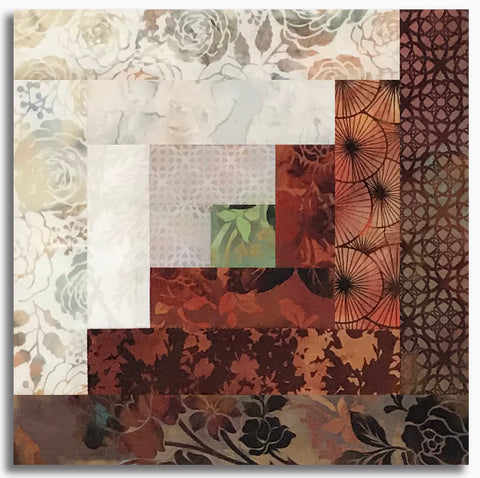 In The Beginning Pre-Cut 12 Block Log Cabin Quilt Kit - Autumn Rose