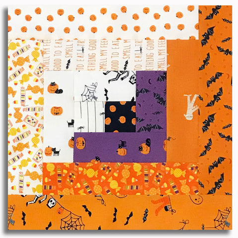 Moda Pre-Cut 12 Block Log Cabin Quilt Kit - Ghouls & Goodies