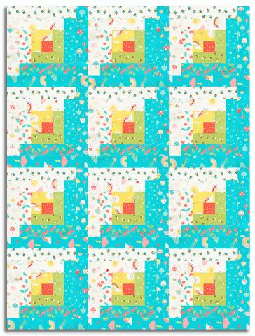 Moda Pre-Cut 12 Block Log Cabin Quilt Kit - Hello Sunshine