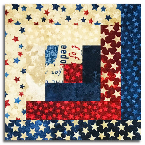 Northcott Americana Stars & Stripes Stonehenge Pre-Cut 12 Block Log Cabin Quilt Kit - Freedom Star