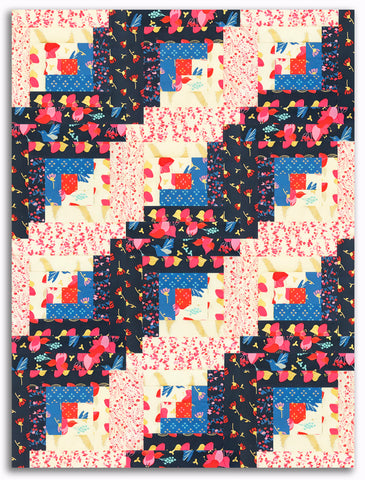 Riley Blake Metallic Pre-Cut 12-Block Log Cabin Quilt Kit - Sweet Honey Kisses