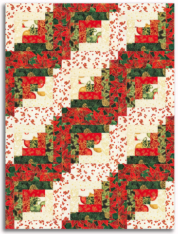 Kaufman Metallic Holiday Flourish Pre-Cut 12 Block Log Cabin Quilt Kit - Deck The Halls