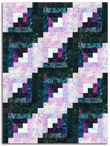 Kaufman Artisan Batiks Pre-Cut 12-Block Log Cabin Quilt Kit - Lively Garden