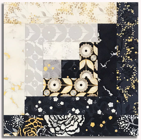 Kaufman Metallic Pre-Cut 12-Block Log Cabin Quilt Kit - Silverstone Black Gold