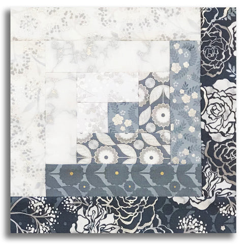 Kaufman Pre-Cut 12-Block Log Cabin Quilt Kit - Silverstone Silver Grey