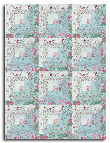 Moda Pre-Cut 12 Block Log Cabin Quilt Kit - Robin's Egg Rue
