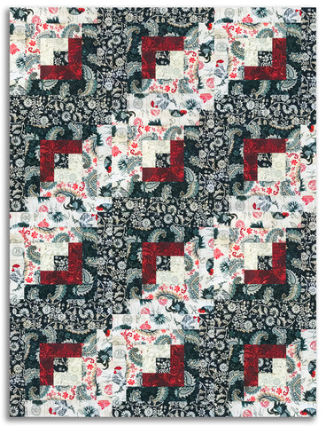 Studio E Pre-Cut 12 Block Log Cabin Quilt Kit - Le Poulet