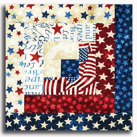 Northcott Stonehenge Americana PRE-CUT 12 Block Log Cabin Quilt Kit - Stars & Stripes 2020