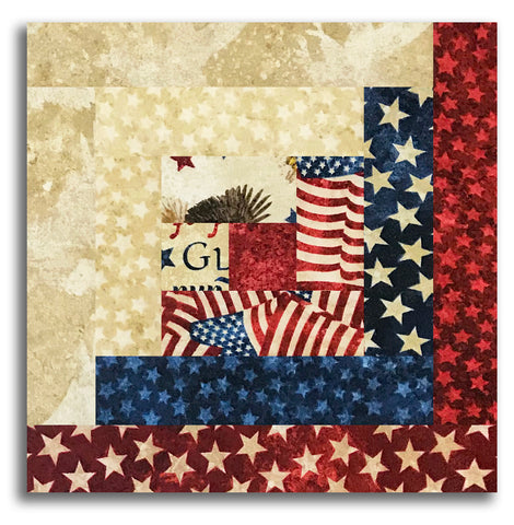 Northcott Americana Stars & Stripes Stonehenge Pre-Cut Log Cabin Table Runner Kit - Land Of The Free