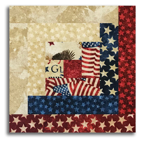 Northcott Americana Stars & Stripes Stonehenge PRE-CUT 12 Block Log Cabin Quilt Kit - Land Of The Free