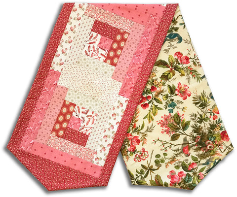 Andover Laundry Basket Pre-Cut Log Cabin Table Runner Kit - Secret Stash Blush