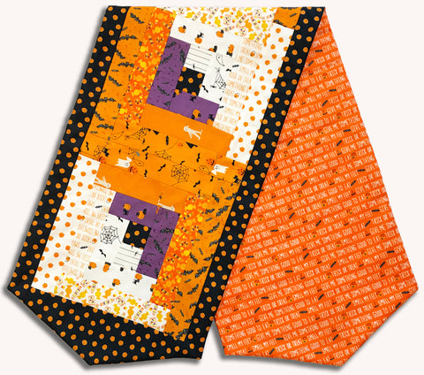 Moda Ghouls & Goodies Pre-Cut Log Cabin Table Runner Kit - Trick Or Treat Orange
