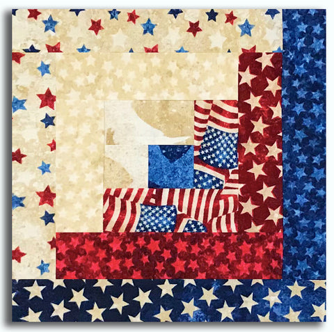 Northcott Americana Stars & Stripes Stonehenge Pre-Cut Log Cabin Table Runner Kit - July 4th